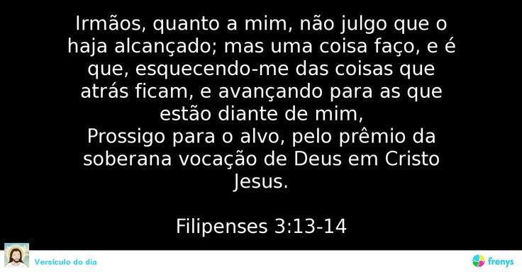 Irmãos, quanto a mim, não julgo que o haja alcançado; mas uma coisa faço, e é que, esquecendo-me das coisas que atrás ficam, e avançando para as que estão diante de mim, Prossigo para o alvo, pelo prêmio da soberana vocação de Deus em Cristo Jesus.  Filipenses 3:13-14