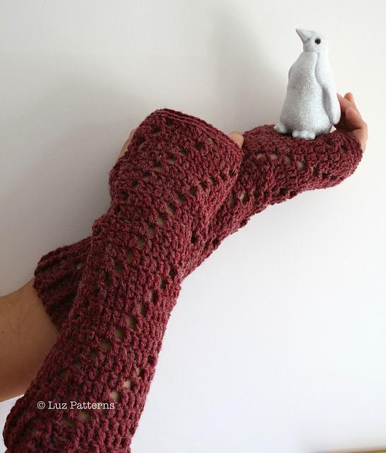 Elbow Length Fingerless Gloves 113 Pattern By Luz Mendoza