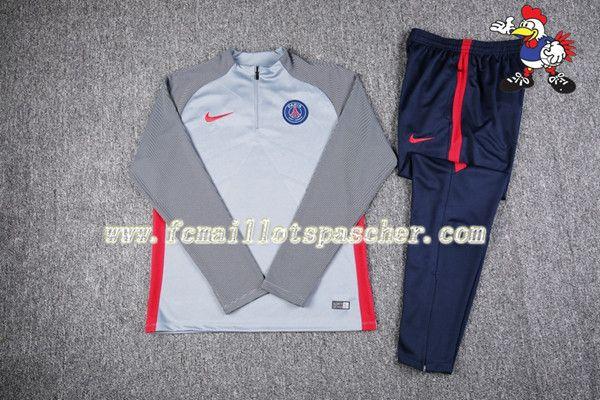 magasin Survetement Du Elite PSG Gris Fonce 16 17 18 Homme Kits thailande