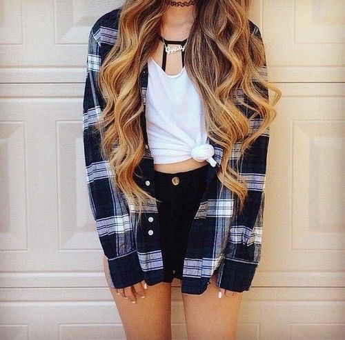 cute, fall, fashion, flannel, knee highs, outfit, outfits, plaid ...