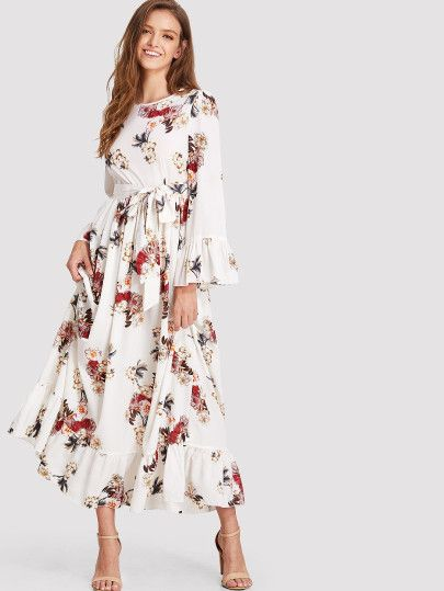f04c2ded2a11 Shop Ruffle Cuff   Hem Belted Floral Dress online. SheIn offers Ruffle Cuff    Hem Belted Floral Dress   more to fit your fashionable needs.