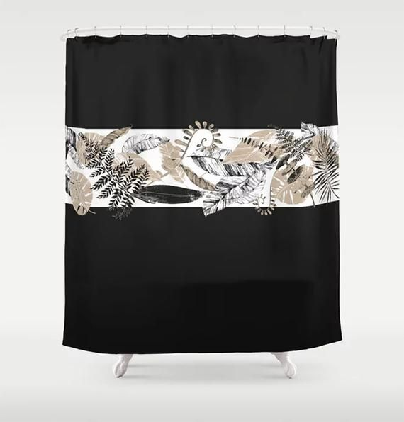 black and tan shower curtain tropical
