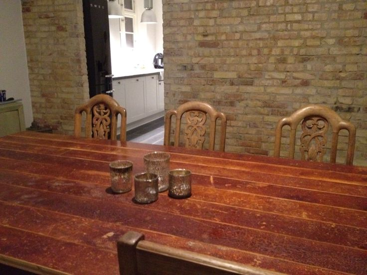 Our dining table - made of old floorboards from our house...