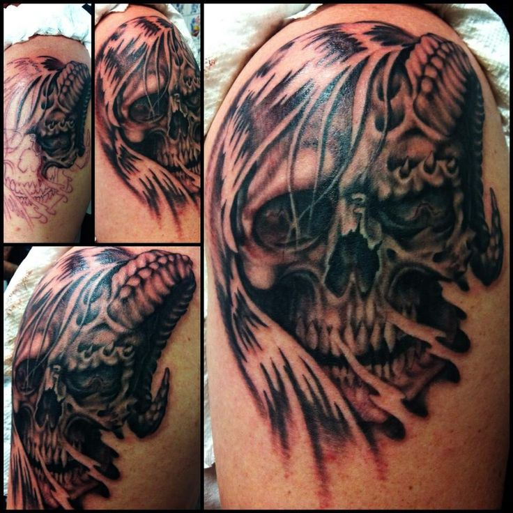 Tattoo by Jojo Miller, Dynamic Ink, Eternal Ink, skull ...