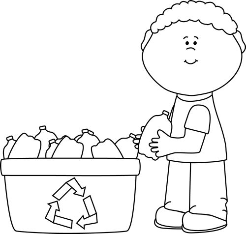 clip art black and white | Black and White Boy Recycling Plastic Bottles Clip Art Image - black ...