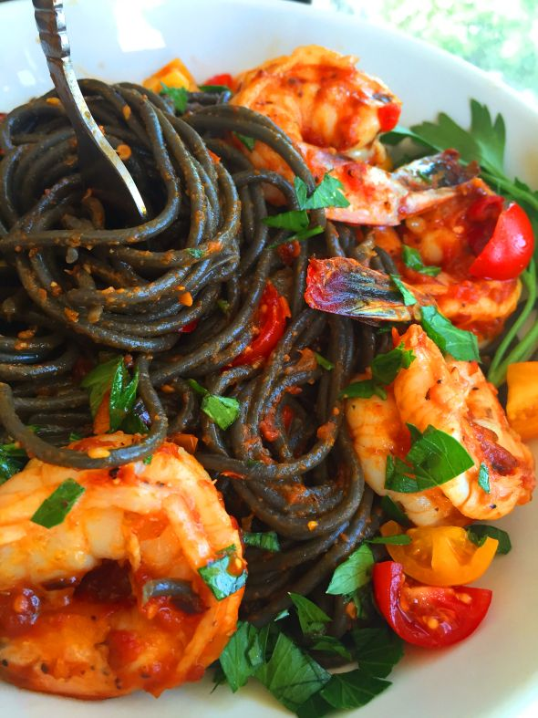 Fiery Shrimp fra Diavolo with Squid Ink Pasta