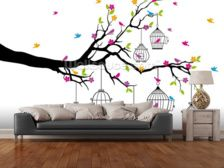 Tree with Birdcages wallpaper mural