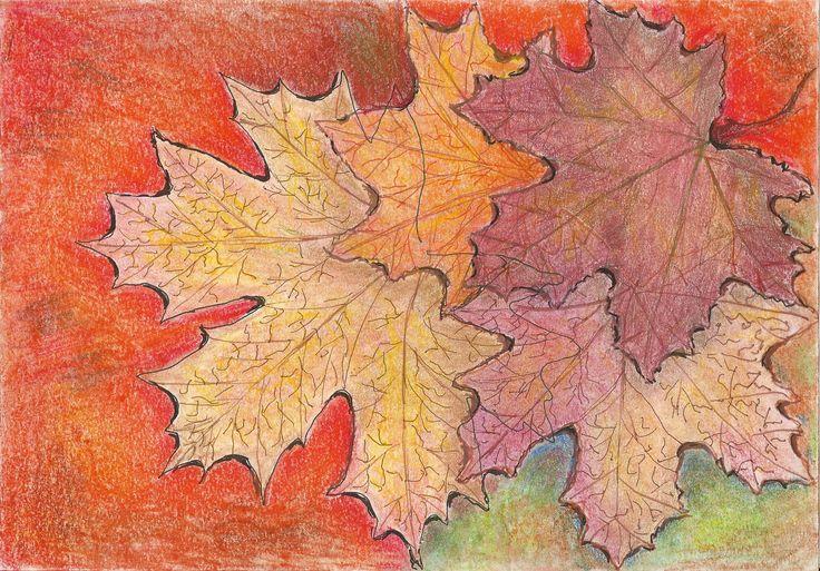 levelek pasztell rajz