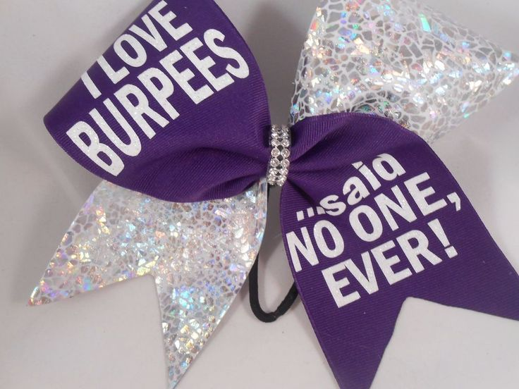 I love BURPEES said no one ever Purple Silver Cheer Bow BlingItOnCheerBows  #BlingItOnCheerBowz