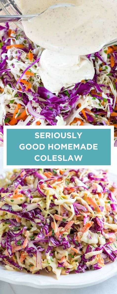 I love this easy coleslaw recipe! The dressing is made without any added sugar and is practically addictive. This is great for BBQs, topping pulled pork sandwiches and more!