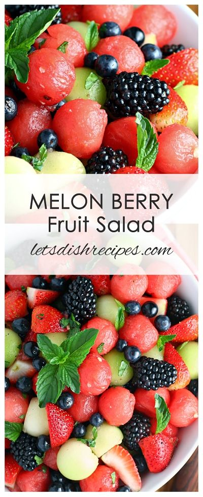 Melon Berry Fruit Salad Recipe | Watermelon, honeydew and berries are tossed in a honey lime dressing and garnished with fresh mint in this refreshing summer salad.