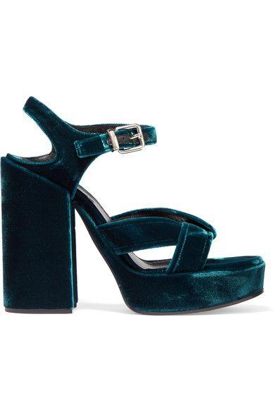 Jil Sander - Velvet Platform Sandals - Teal - IT