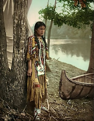 "A photograph of an Indian Maiden. The picture was taken in 1904. I have no information on the photograph, other than it is captioned, ""Minnehaha"".:"