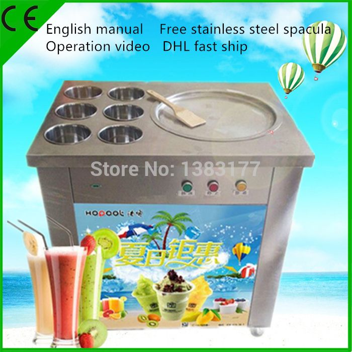 free ship CE Fried Ice Machine  commercial R410 fried thai ice machine 110v/220V customzing single one ice pan machine for sale