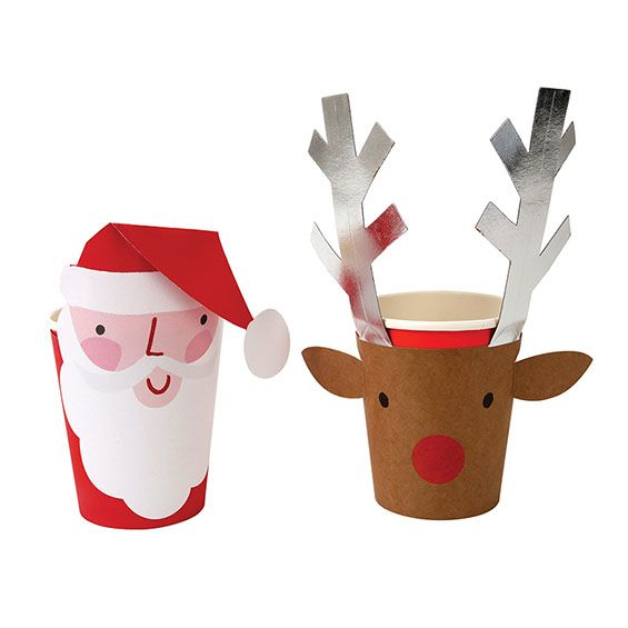 Santa and Reindeer Cups and wraps