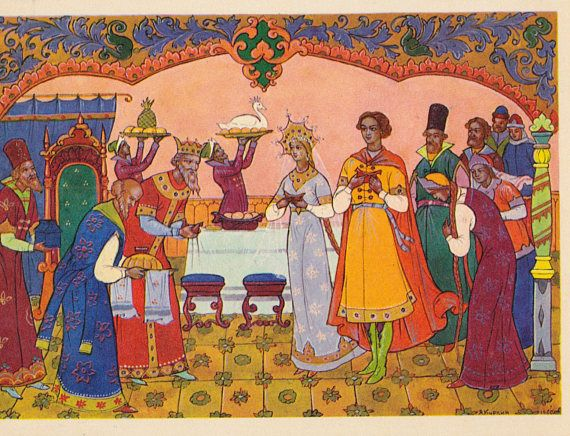Tale of the Dead Princess and the Seven Warriors, Drawings by A. Kurkin (Palekh). Set of 15 Vintage Postcards (out of 16) in cover -- 1967  Incomplete Set with cover 4x6x15 (postcard), has not been written on, good vintage condition