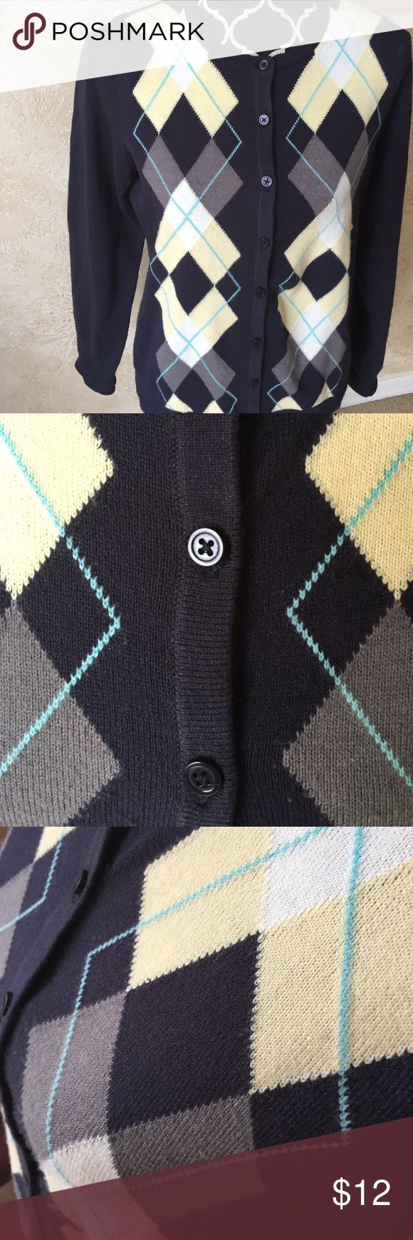 Argyle Sweater Navy with yellow, white, gray, and light blue. Button up. Good condition. croft & barrow Sweaters Cardigans