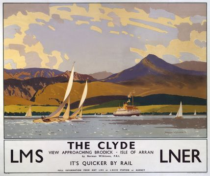 The poster shows a view of the Clyde approaching Brodick, Isle of Arran, North Ayrshire, with the water in the foreground with boats and a steamship, and green hills and mountains in the distance. Artwork by Norman Wilkinson.