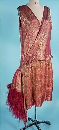 c. 1924 Raspberry and Gold Lame Dress with Marabou Feathers