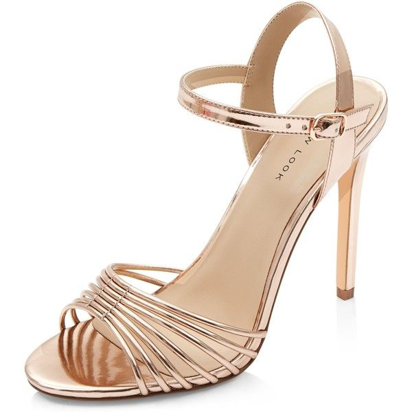 New Look Rose Gold Strappy Heeled Sandals (2.075 RUB) ❤ liked on Polyvore featuring shoes, sandals, gunmetal, strappy sandals, strappy high heel shoes, ankle tie sandals, strappy shoes and ankle wrap sandals