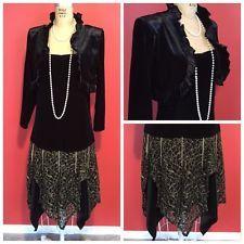 Downton Abbey Great Gatsby 1920s Flapper Charleston Drop Waist Velvet Dress S/M