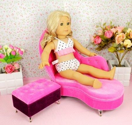 """Amazon.com: NEW!** RUBY ROSE ** Doll SOFA Set - Lounge Chair and Ottoman/Jewelry Box ~ Fits 18"""" American Girl Dolls: Toys & Games"""