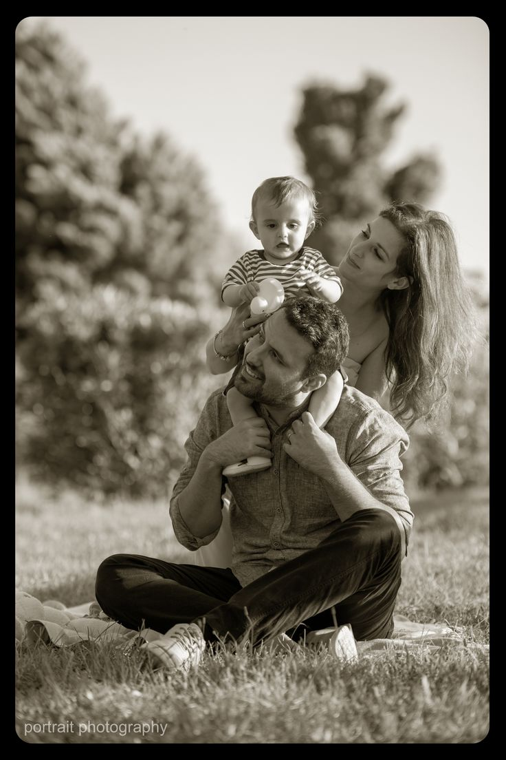 A sunny day in the park #baby #family #mother #father #son #blackandwhite