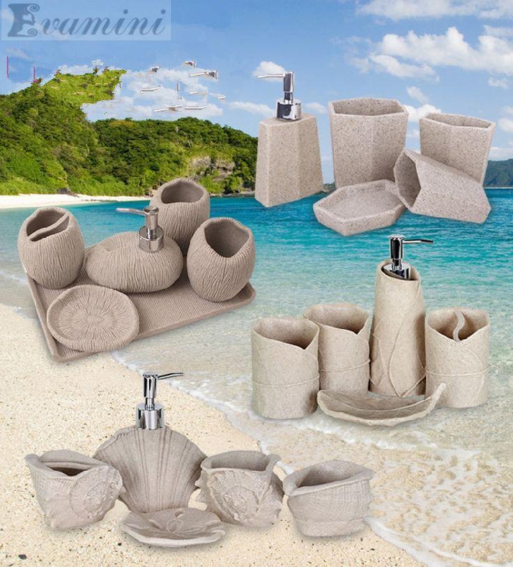 >> Click to Buy << Marine sand and gravel Fashion bathroom supplies resin bathroom set of five pieces wash set bathroom set bath tubs #Affiliate