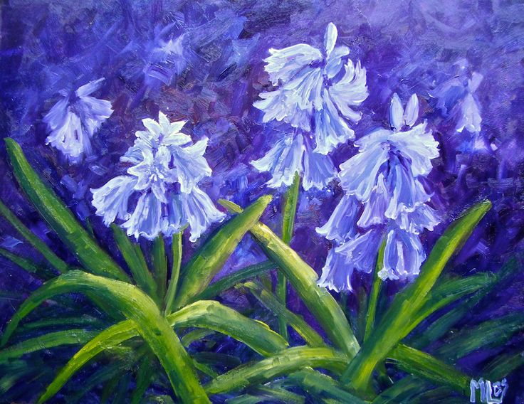 'Day 27 Bluebells in the Garden' Ok it's spring and I couldn't resist the Bluebells any longer! What fun I had sitting in the garden with warm spring sunshine painting these happy flowers.