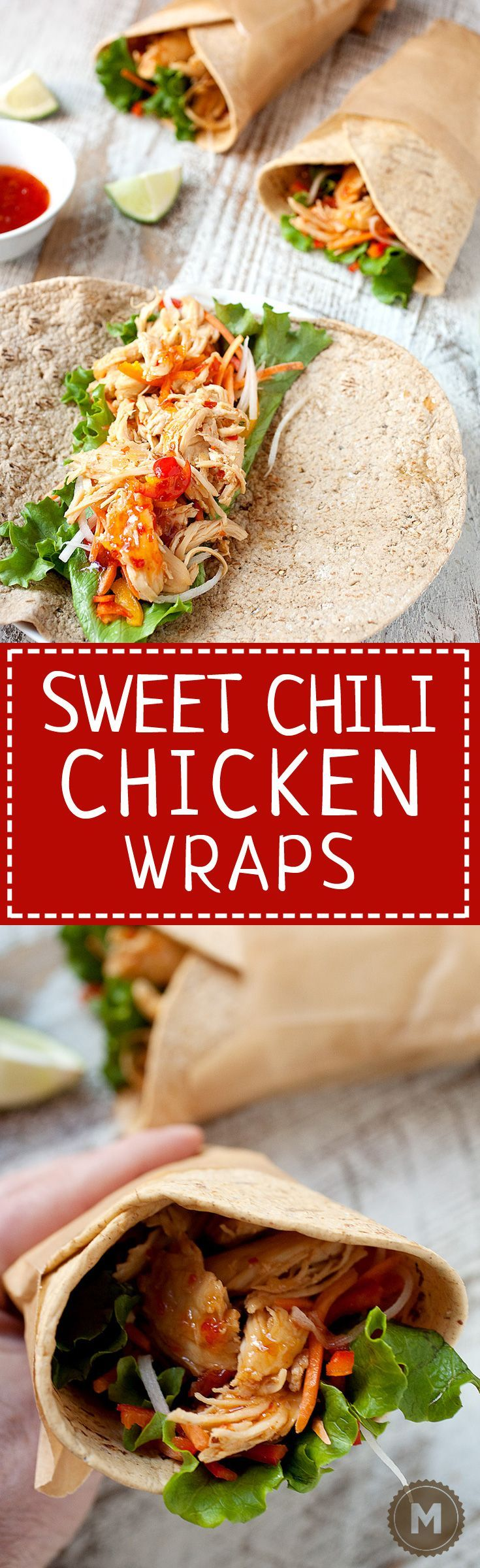 Sweet Chili Chicken Wraps: Shredded chicken simmered in a simple sweet chili lime sauce and stuffed inside flatbread wraps with fresh, crunchy veggies. The perfect quick wrap for dinner! #sponsored | http://macheesmo.com