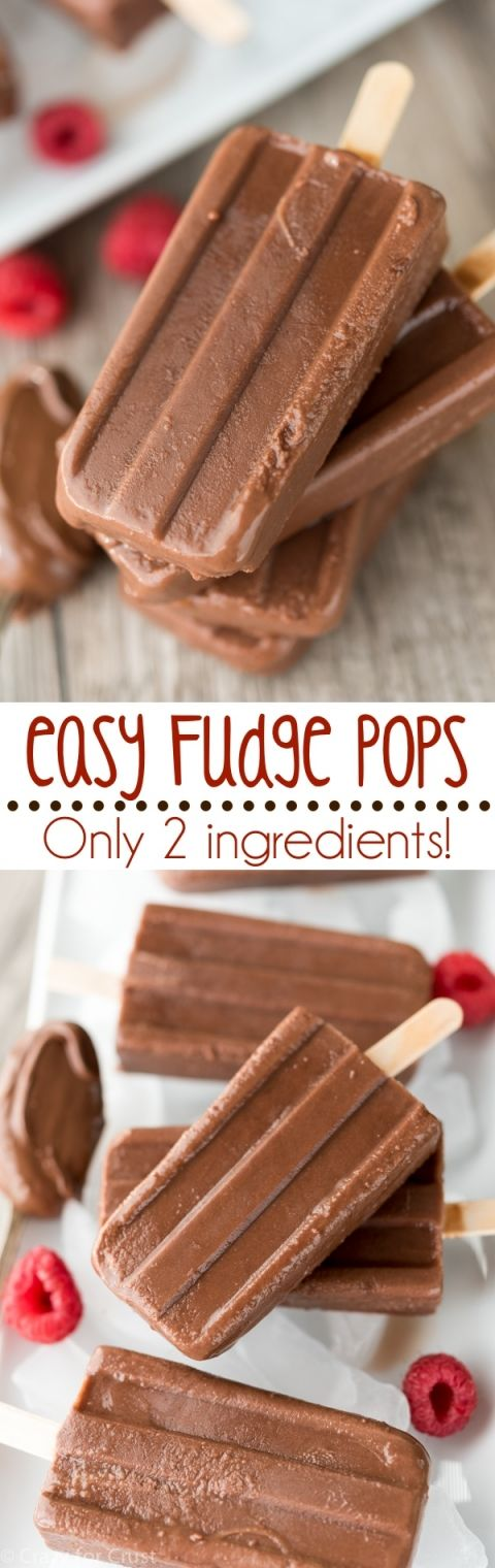 Easy Fudge Pops with only 2 ingredients - like a fudgesicle only BETTER! 1/2 c Nutella & 1 1/2 c chocolate almond milk