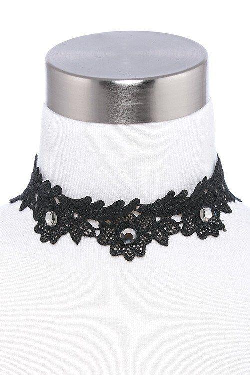 Downton Abbey Style Black Lace, Pearl Filigree & Black Diamond Choker…