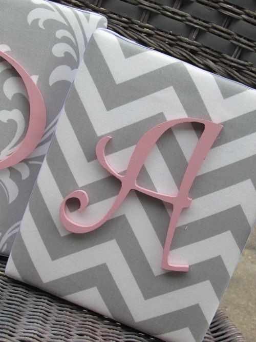Wall Letters, Pink and Gray Nursery, Gray and Pink Nursery, 8x10, Framed Monogram, Baby Nursery, Painted Letters,Letters, Personalized. $21.99, via Etsy.