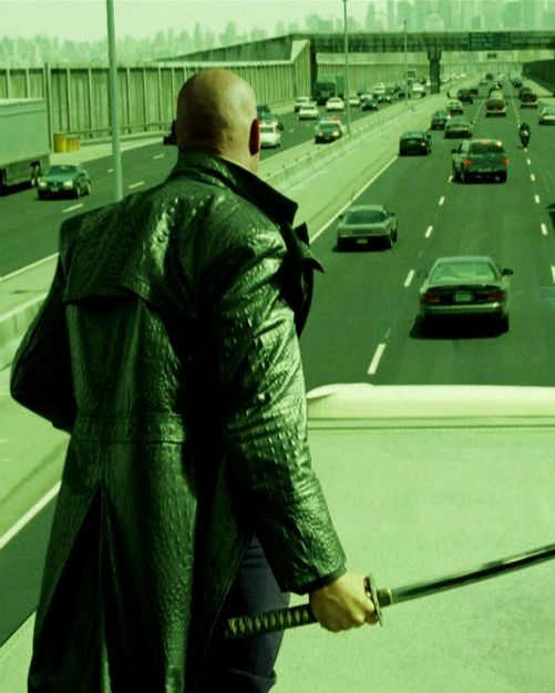 Laurence Fishburne in The Matrix Reloaded. All the color blue was sucked out of the exterior shots to convey how grim the world of the Matrix actually is.