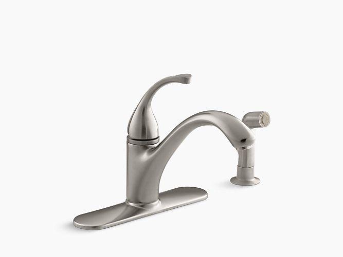 Utility Room Faucet - Forté Single-Handle Kitchen Sink Faucet with Sidespray | K-10412 | KOHLER