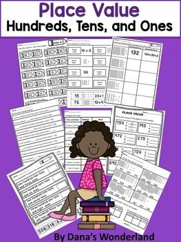 Place Value Worksheet Pack - 25 PLACE VALUE WORKSHEETS WITH 9 DIFFERENT TYPES OF ACTIVITIES This FUN and ENGAGING resource contains 25 place value worksheets that are designed to help students identify the numbers in HUNDREDS, TENS, and ONES place.Types of activities included:* Use the clues to color the number* Cut and paste to match it up* Write the standard and the expanded form of the number* Write each missing number* Complete the chart*  Write the value of the digits in each number…