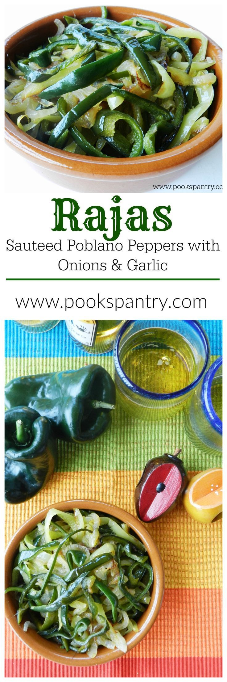Smoky, Spicy Poblano Pepper Strips sauteed with Onions and Garlic for #SundaySupper