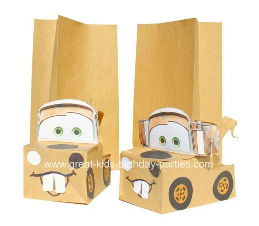 @Sarah Wieckert Disney Cars Party Favors - Make these fun and unique party favor bags for your Disney Cars Birthday Party from plain party favor bags. See Tutorial !