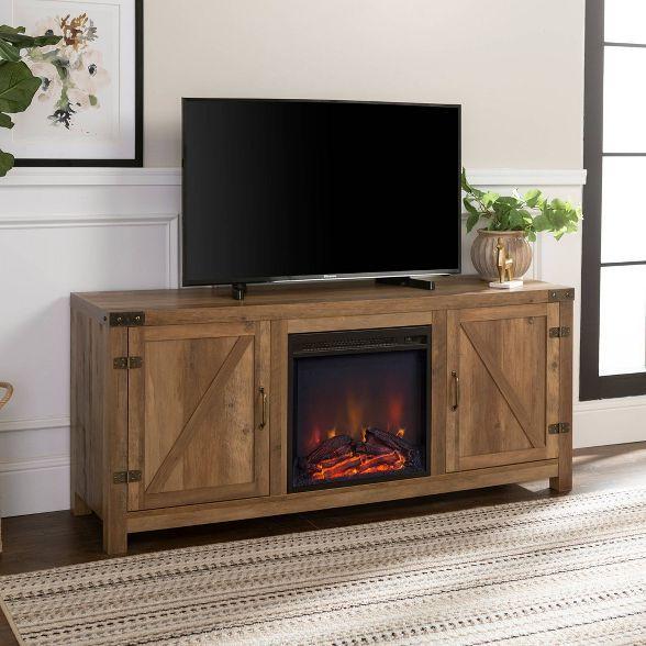 58 Barn Door Fireplace Tv Stand Saracina Home Fireplace Tv