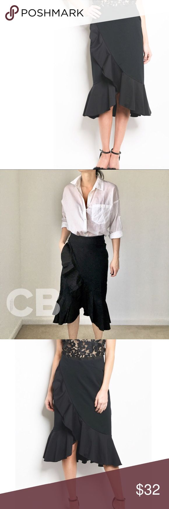 """Maje maje wrap effect ruffled midi skirt Ruffle skirt with elastane waist. Style it up with the work shirt. Yes! Or a T-shirt. Ruffle cascade from top mid to the hem line. Cotton spandex fabric. I'm wearing size s for cover shots. Size S length 31"""" waist 26"""". Size M length 31, waist 27"""". #nordstrom CHICBOMB Skirts Midi"""