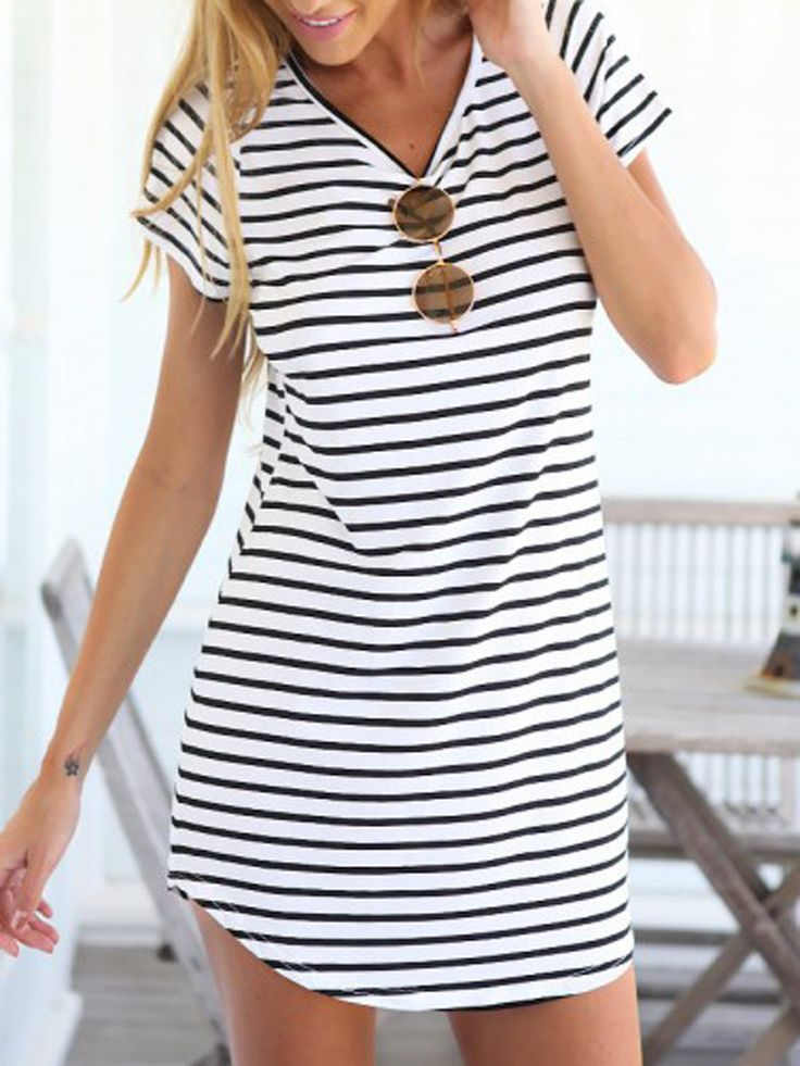 Monochrome Stripe Short Sleeve Shift Dress
