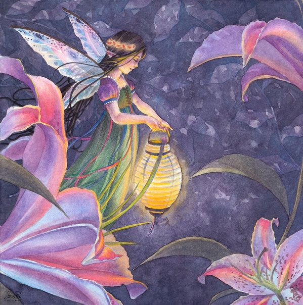 Fairy Print featuring the painting Twilight Lilies by Sara Burrier
