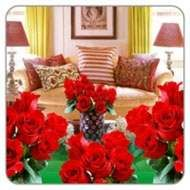 A room full of red roses.