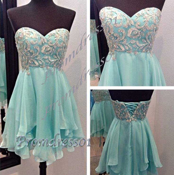 2015 gorgeous mint green sweetheart strapless short prom dress