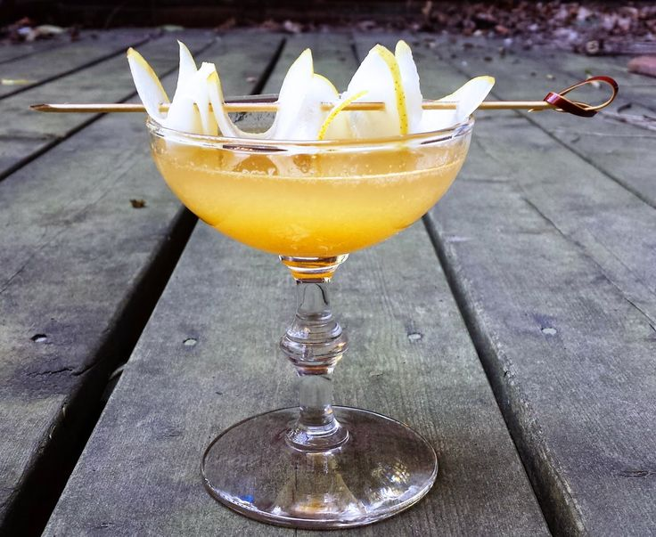 After the Equinox  1 1/2 oz gin  1/2 oz absinthe 1/2 oz Lillet  3/4 oz reserved pear juices or honey  1/2 oz fresh lemon juice 1/2  roasted pear (1/4 cup chopped)  Tipicular Fixin's