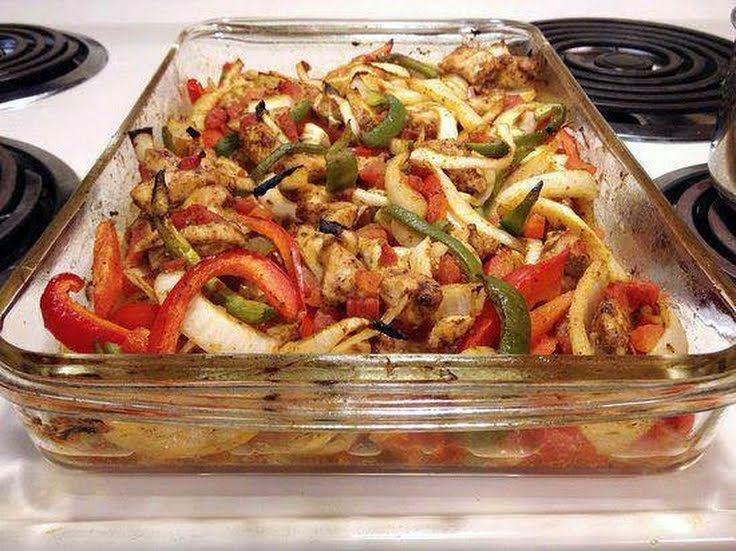 """Baked Chicken Fajitas - Heart Healthy! """"Great especially in some whole wheat tortillas. Nice since we are trying to eat better. :excited""""  @allthecooks #recipe"""