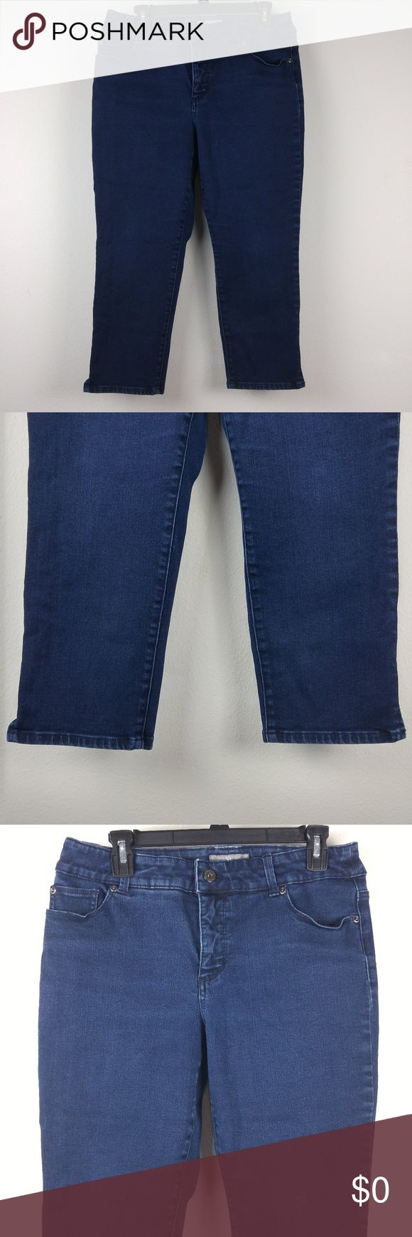 Chico's Jeans Slim Fit Dark Wash Straight 1.5/M/10 Brand: Chico's Buyer: Women Item: Jeans Material: Denim, Stretch Fit: Slim Fit Details: Dark wash, Straight leg Size: 1.5/M/10 Color: Blue Condition: Excellent pre-owned condition, no flaws   Measurements: Waist Across Laying Flat: 16 inches Rise: 10 inches Inseam: 23  inches  Location: Y-6 Weight: Flat Chico's Jeans Straight Leg