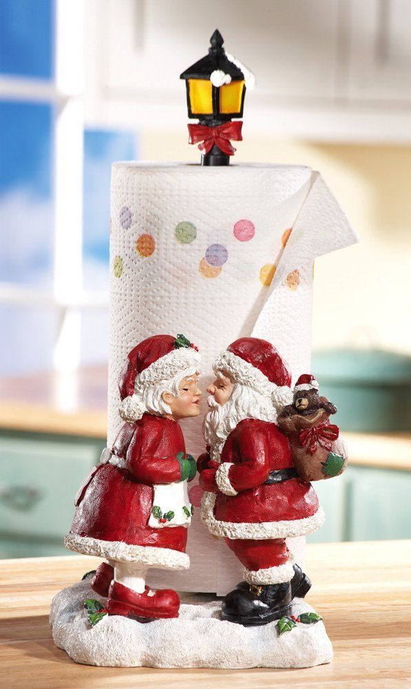 Kissing Mr Amp Mrs Santa Claus Christmas Paper Towel Holder