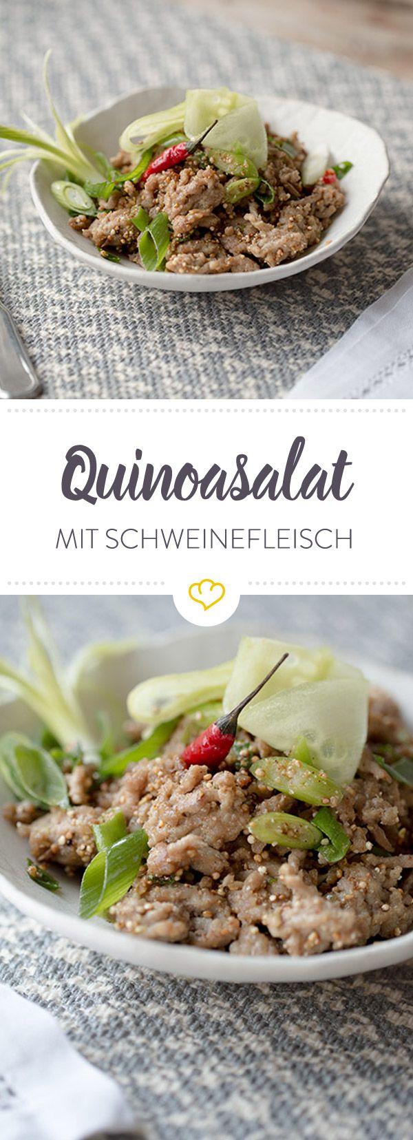 Proteine satt - dank Superfood Quinoa und zartem Schweinefleisch. Das schnelle Gericht erhält durch Chili und Zitronengras eine feine asiatische Note.