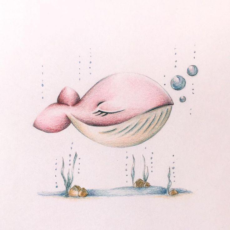 Rosvita, balena rosa illustrata della serie Animailetti. Filastrocche in rima per grandi e piccini.  Illustrated pink whale, original character of mattonigialli.it.  Disegno a grafite e matite colorate su carta (pencil and pastels drawing).
